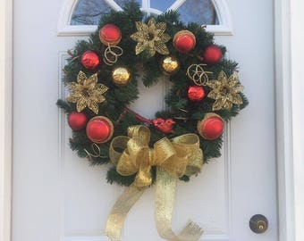 Christmas red & gold wreath