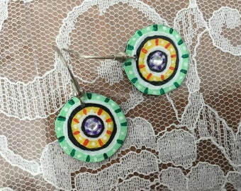 Concentric Circle Design Green and Yellow Hand Painted Earrings