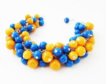 Blue and Orange Beaded Cluster Bracelet, Chunky Bead Bracelet, Blue and Orange Bracelet, Blue and Orange Beaded Bracelet, Cluster Bracelet
