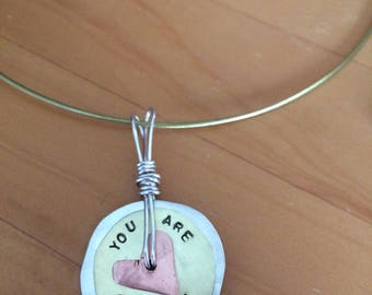 You are Enough Spinning Pendant with Gold Choker