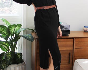 80s Black Buttonup Collared Shirt Dress
