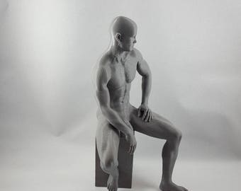 MM11 - 3D Printed Statue of a Nude Man Casually Sitting on a Block