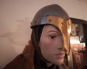 Helmet with nasal, steel 1.6 mm