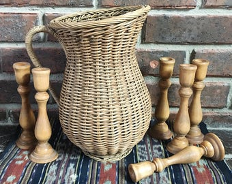 Large Woven Vase, Vintage Wicker Pitcher with Handle, Woven Pitcher, Wicker Home Decor