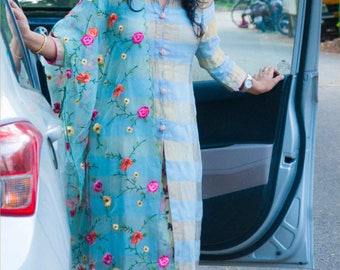 Straight Cut Kurta with floral organza dupatta and pants.