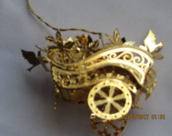 Danbury Mint 1999 Flower Cart 20kt gold plated Christmas ornament