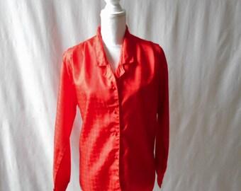 Vintage Vibrant Red 1970s Joanna Blouse, 1970s Blouse, Vintage Blouse, Red, Vintage Women's Clothing, Joanna, Career, 1970s Women's Clothing