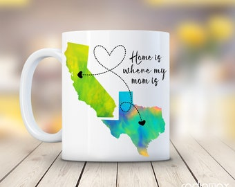 Gift For MOM, Home is Where My Mom is, Mother Birthday Gift, Personalized Long Distance Relationship Mug, Mother's Day Gift from Daughter