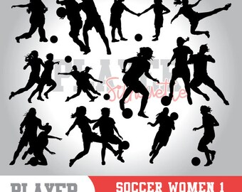 Soccer Women SVG, Soccer player svg, Soccer digital clipart, athlete silhouette, Soccer Women sport, cut file, design, A-020