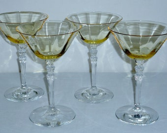 """4 Fostoria Fairfax SHERBET GOBLETS Cocktail Champagne Topaz Yellow glasses optic crystal #5099 6"""" Excellent"""