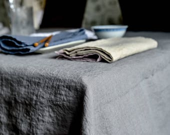 Washed Linen Tablecloth, Stone Gray Color, Stonewashed Linen Tablecloth, Large Rectangle Square Custom Tablecloth, Farmhouse Tablecloth