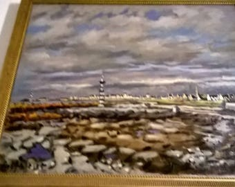 """GUILBERT ROBERT (1950/1992) """"Southern Finistère oil on canvas""""54 x 65"""