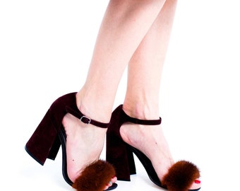 Mink slingback with genuine leather. Leather slingback. Fur slingback. Burgundy slingback