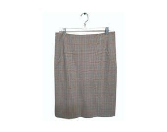 Glen Plaid Pencil Skirt