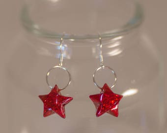 Origami ⋆ holographic Red Metal earrings