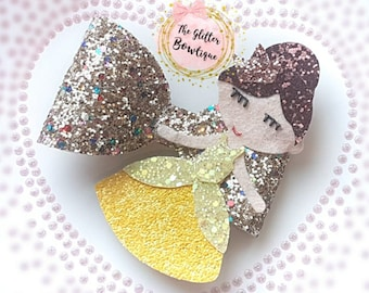 Princess, Princess Bow, Hair Bow, Glitter Bow, Sparkly Bow, Gold Bow, Yellow Bow,