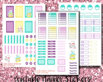 EC Printable Stickers: Watercolor Typewriter Full Kit (Three Pages)