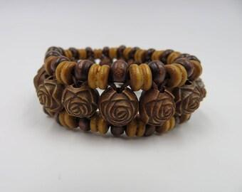3 Strand/Carved Bead Coconut Wood LOTUS Bracelet