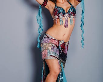 "Costume for bellydance ""Rythm of the dance"" by Amalia Design,, belly dance costume, bright dance costume, costume for raks sharki"