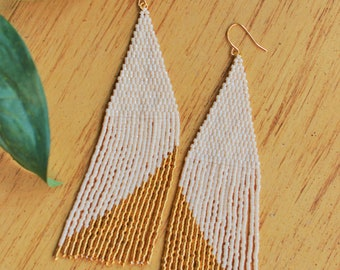 Gold Dipped Beaded Fringe Earrings