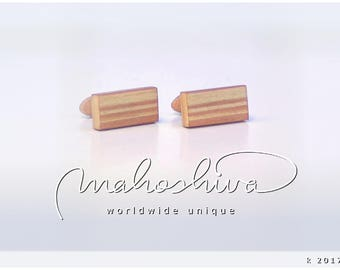 wooden cuff links wood flamed maple maple handmade unique exclusive limited jewelry - mahoshiva k 2017-06