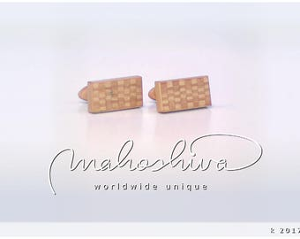 wooden cuff links wood alder maple handmade unique exclusive limited jewelry - mahoshiva k 2017-61