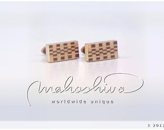 wooden cuff links wood walnut maple handmade unique exclusive limited jewelry - mahoshiva k 2017-76