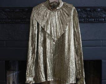 1980s metallic gold French silk lame ruffle pleat blouse