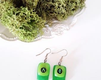 Glass earrings / green earrings / Silver drop earrings / fun earrings / colorful earrings / bright earrings / happy earrings