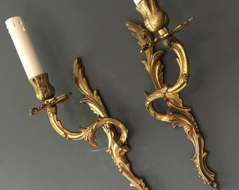 Vintage French Brass Sconce Wall Lights