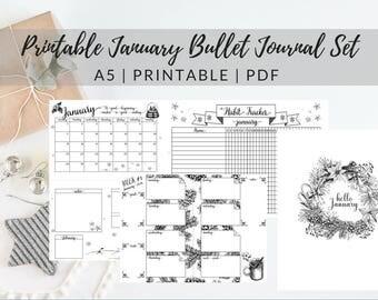 Printable January 2018 Bullet Journal Set