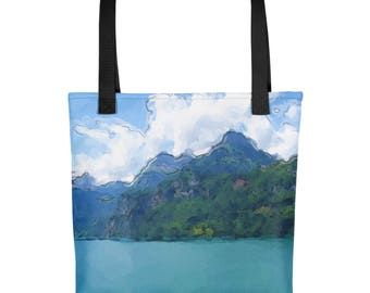 """Tote Bag: Serene landscape """"Vibrant Lake"""" by Malinee Ganahl. Calm, Blue Lake surrounded by Hills.  Digital watercolor."""