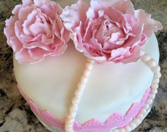 sugar flower wedding cake toppers flower cake topper etsy 20579