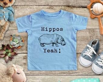 Hippos Yeah! hippo hippopotamus - cute zoo animal funny Baby bodysuit or Toddler Shirt or Youth Shirt - cute birthday baby shower gift