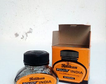 Vintage Pelikan Permanent Black Ink Bottle with packaging.