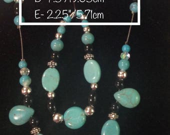 Stunning Turquoise Silver Cross Handmade beaded Set, Western, Gorgeous, Necklace Bracelet. Earrings, Turquoise Silver Black,  Affordable