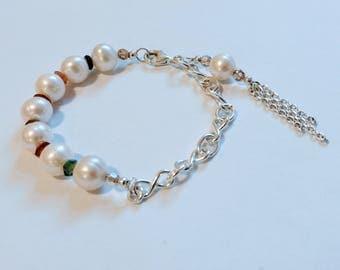 Pearl and Tourmaline Bracelet, Pearl Bracelet, Multi stone Bracelet, Pearl and Silver Infinity Link Bracelet, Pearl and Silver Bracelet