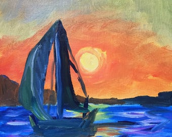 Sailboat at Sunset - Original Impressionist Oil Painting, 8x10, Signed