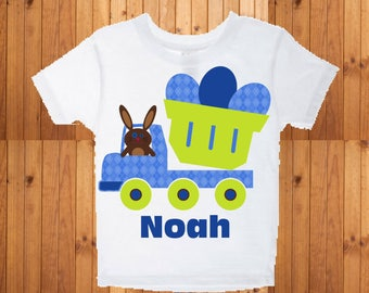 Baby boys personalized Easter bunny truck shirt
