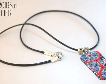 Bohemian floral, red and blue, romantic, ethnic, unique, boho necklace, colorful