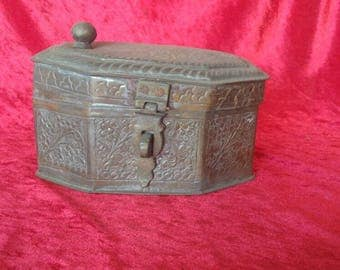 Gorgeous Antique Hand Made Middle East& Ottoman Style Copper Spice Box #SB1
