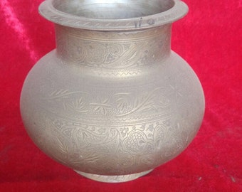 Authentic Ottoman Art Rustic Old Style Brass Pitcher #1114