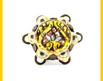 Brass ring with Italian ceramics.