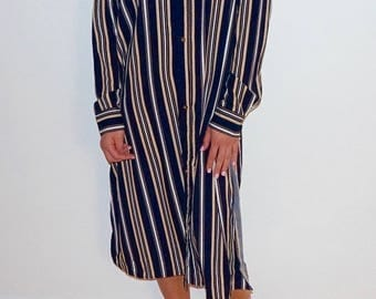 Striped Long Sleeve Button Down Tunic Top