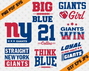 NY Giants,Think Blue,21 collins,american football,team,cutting machines,T-shirt Design,New York Giants Silhouette,TT-012