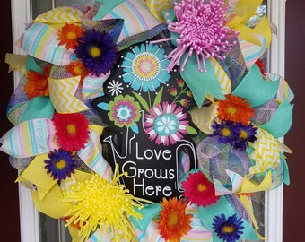 """16"""" spring and summer watering can wreath"""