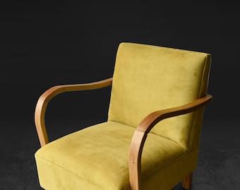 Mid century Armchair - Yellow Chair - Oak Chair - Accent Chair- Mid century modern - Scandinavian Furniture - Nordic - Mid century Furniture