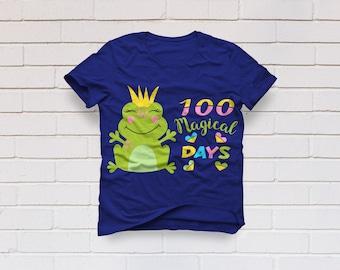 100 magical days svg, 100 days svg, 100th day of school svg, Frog svg, Princess svg, School svg, Teacher svg, SVG, DXF, eps, png, pdf, Frog