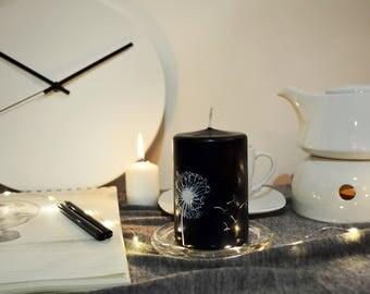 Black and White Dandelion Pillar Candle Free UK shipping