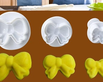 Easy Bow Knot Cake Icing Decorating Cookie Plunger Cutters Fondant Mold Tool New 3 Pcs